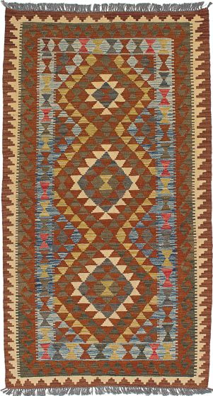 Traditional Brown Area rug Unique Turkish Flat-weave 227951