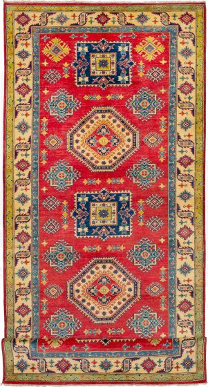 Bordered  Geometric Red Runner rug 19-ft-runner Afghan Hand-knotted 272645