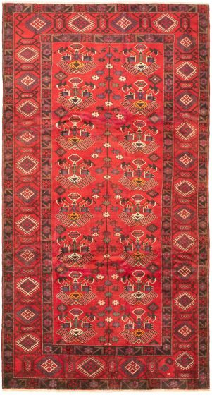 Bordered  Tribal Red Area rug Unique Turkish Hand-knotted 320474