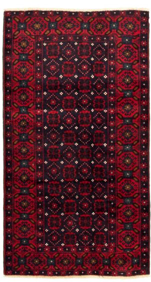 Bordered  Tribal Blue Area rug 3x5 Afghan Hand-knotted 334170