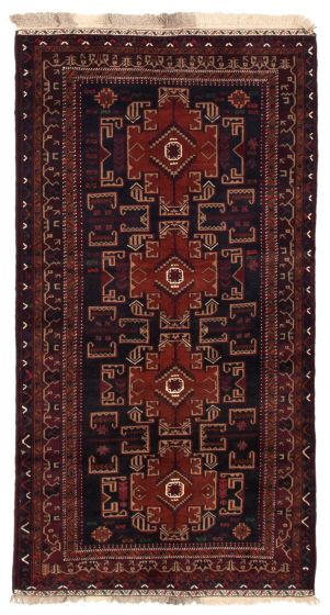 Bordered  Tribal Blue Area rug Unique Afghan Hand-knotted 352070