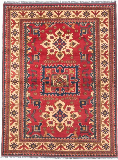 Tribal Red Area rug 4x6 Afghan Hand-knotted 202912