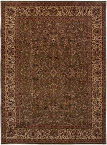 Bordered  Traditional Green Area rug 9x12 Indian Hand-knotted 271878