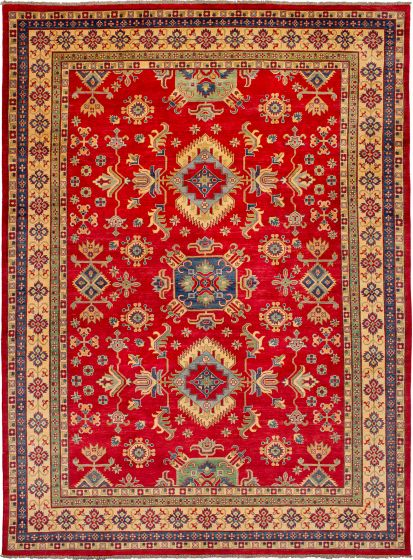 Bordered  Geometric Red Area rug 9x12 Afghan Hand-knotted 272425