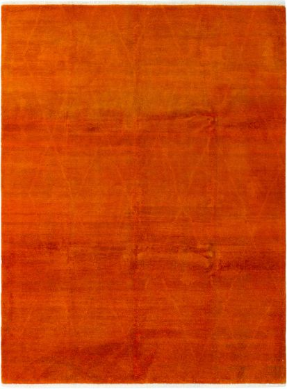 Casual  Transitional Orange Area rug 6x9 Indian Hand-knotted 280449