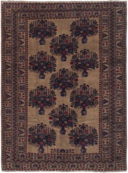 Bordered  Tribal Brown Area rug 6x9 Afghan Hand-knotted 285791