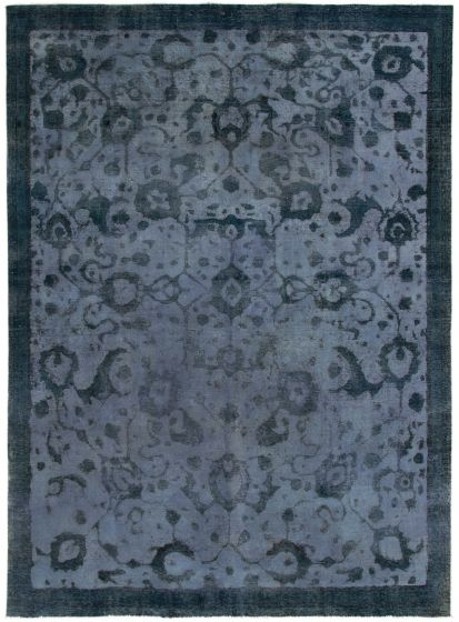 Bordered  Transitional Blue Area rug 8x10 Turkish Hand-knotted 293050