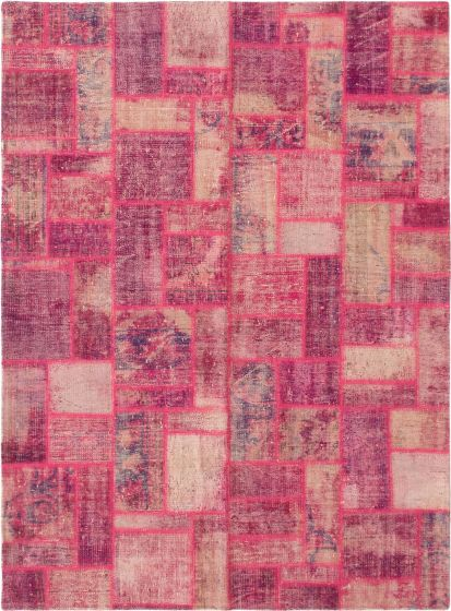 Casual  Transitional Pink Area rug 5x8 Turkish Hand-knotted 296077
