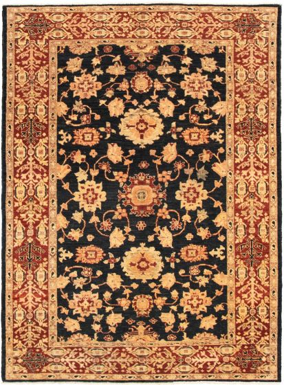 Bordered  Traditional Black Area rug 6x9 Afghan Hand-knotted 318689