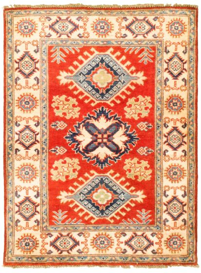 Bordered  Traditional Red Area rug 3x5 Afghan Hand-knotted 330255