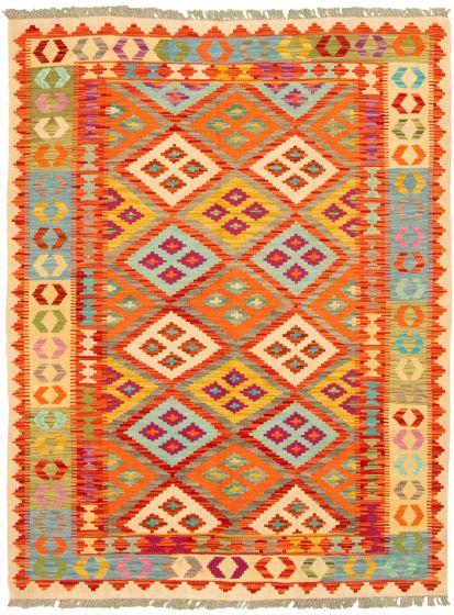 Bordered  Geometric Multi Area rug 4x6 Turkish Flat-weave 330258