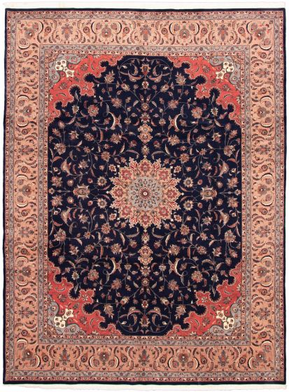 Bordered  Traditional Blue Area rug 9x12 Pakistani Hand-knotted 330327
