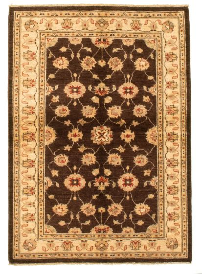 Bordered  Traditional Brown Area rug 3x5 Indian Hand-knotted 331293