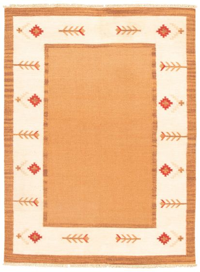 Flat-weaves & Kilims  Transitional Brown Area rug 5x8 Turkish Flat-weave 344433