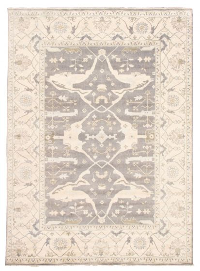 Bordered  Traditional Grey Area rug 10x14 Indian Hand-knotted 344859