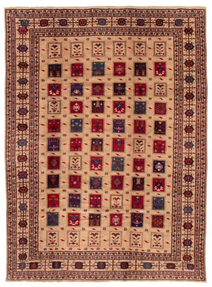 Bordered  Tribal Brown Area rug 6x9 Afghan Hand-knotted 357393