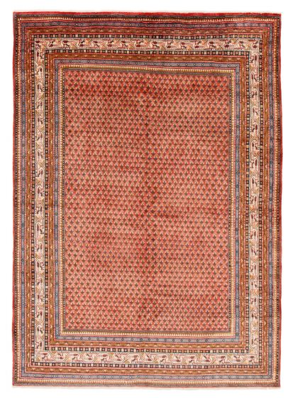 Bordered  Traditional Red Area rug 6x9 Persian Hand-knotted 366441