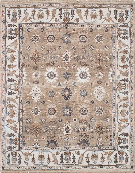 Traditional Ivory Area rug 6x9 Indian Hand-knotted 222703