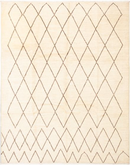 Casual  Transitional Ivory Area rug 9x12 Indian Hand-knotted 280487