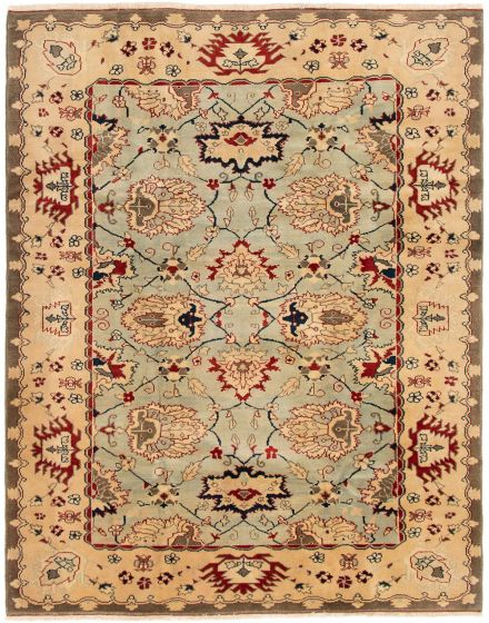 Bordered  Traditional Blue Area rug 6x9 Turkish Hand-knotted 293386