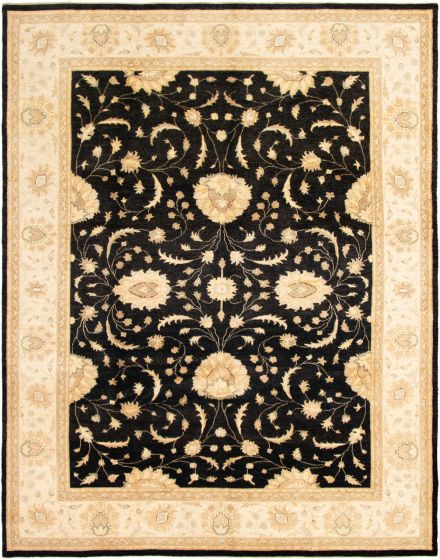 Bordered  Traditional Black Area rug 9x12 Indian Hand-knotted 295605