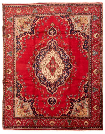 Bordered  Traditional Red Area rug 9x12 Persian Hand-knotted 322978