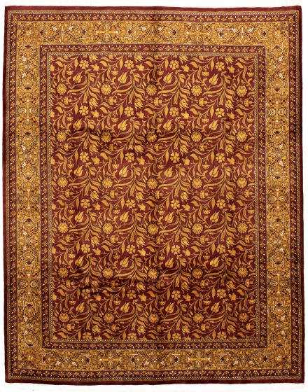 Bordered  Traditional Red Area rug 6x9 Pakistani Hand-knotted 330561