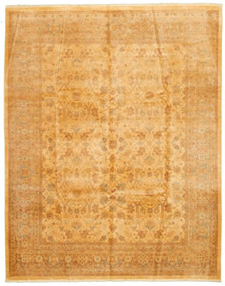 Bordered  Traditional Ivory Area rug 6x9 Pakistani Hand-knotted 330598