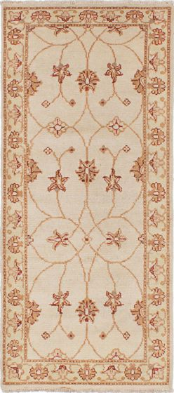 Traditional Ivory Runner rug 6-ft-runner Indian Hand-knotted 223752