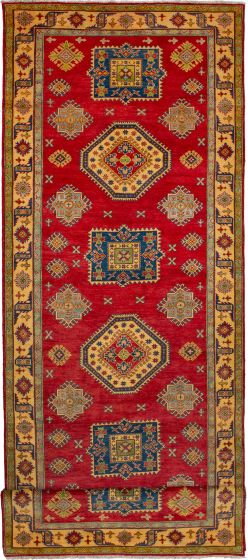Bordered  Geometric Red Runner rug 16-ft-runner Afghan Hand-knotted 272515
