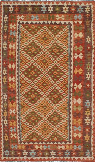 Traditional Brown Area rug 5x8 Turkish Flat-weave 212499