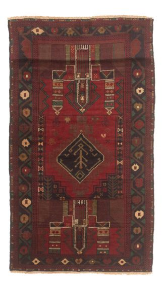 Bordered  Tribal Red Area rug 3x5 Afghan Hand-knotted 348626
