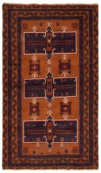 Geometric  Tribal Brown Area rug 4x6 Afghan Hand-knotted 367529