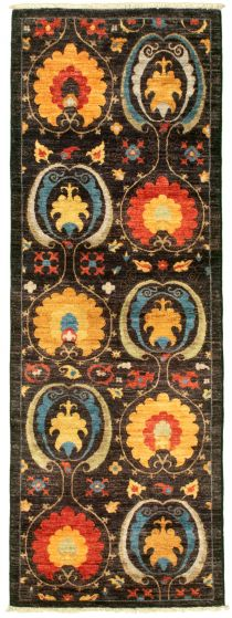 Traditional  Transitional Black Runner rug 7-ft-runner Pakistani Hand-knotted 342128