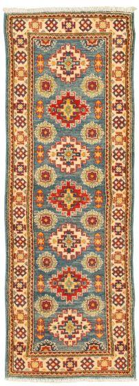 Bordered  Traditional Blue Runner rug 6-ft-runner Afghan Hand-knotted 331511