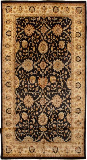 Bohemian  Traditional Black Runner rug 26-ft-runner Indian Hand-knotted 271129
