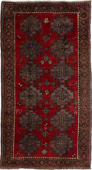 Bordered  Vintage Red Area rug Unique Turkish Hand-knotted 279874