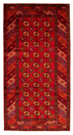Bordered  Tribal Red Area rug Unique Turkish Hand-knotted 322301