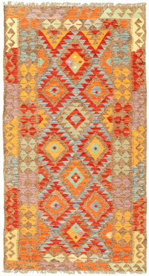 Bordered  Geometric Brown Area rug 3x5 Turkish Flat-weave 329993