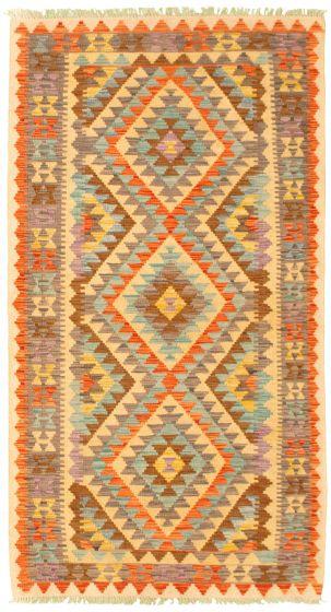 Bordered  Geometric Ivory Area rug 3x5 Turkish Flat-weave 330004