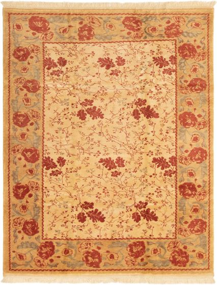 Bordered  Traditional Ivory Area rug 6x9 Turkish Hand-knotted 293380