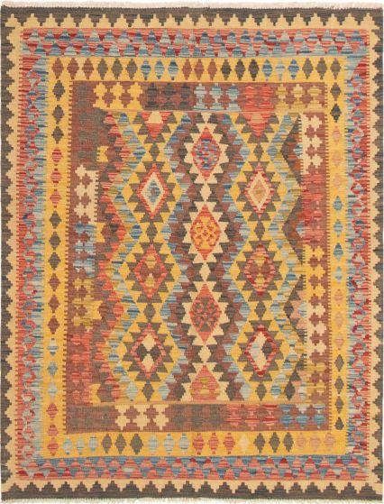 Bordered  Geometric Orange Area rug 4x6 Turkish Flat-weave 297586