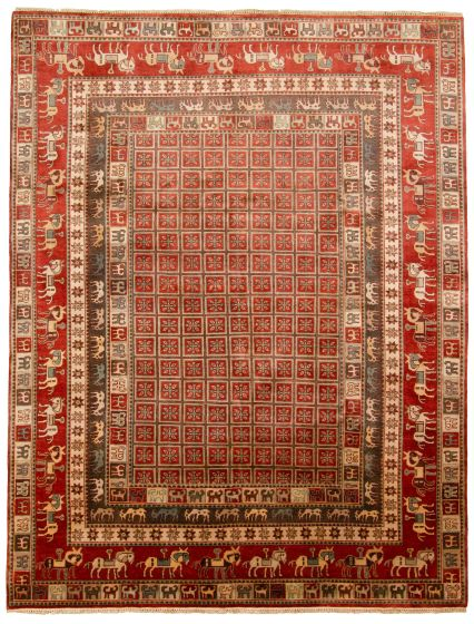 Tribal Red Area rug 9x12 Indian Hand-knotted 313339