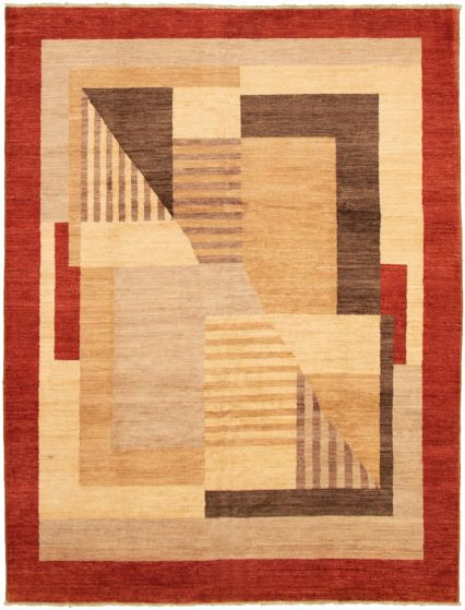Bordered  Transitional Ivory Area rug 8x10 Pakistani Hand-knotted 318309