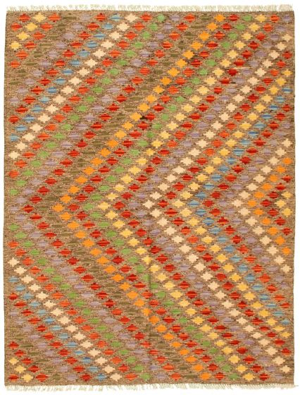 Flat-weaves & Kilims  Geometric Grey Area rug 4x6 Turkish Flat-weave 329970