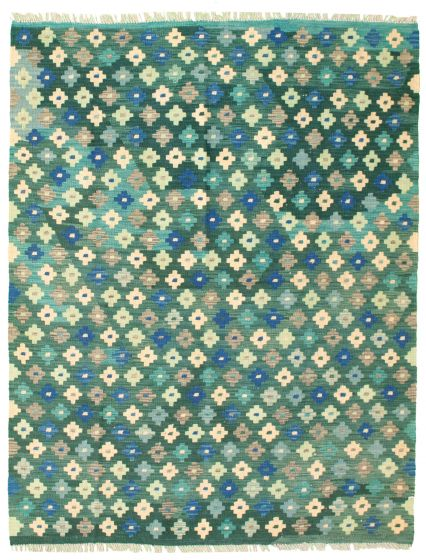 Flat-weaves & Kilims Green Area rug 4x6 Turkish Flat-weave 330013