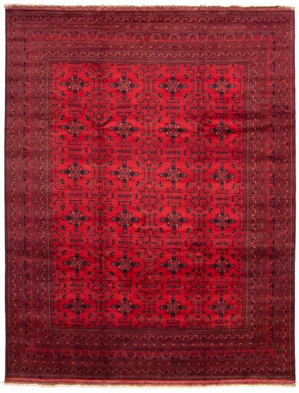 Bordered  Tribal Red Area rug 9x12 Afghan Hand-knotted 330051