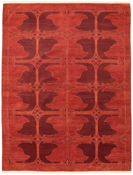 Bordered  Transitional Brown Area rug 5x8 Pakistani Hand-knotted 330336