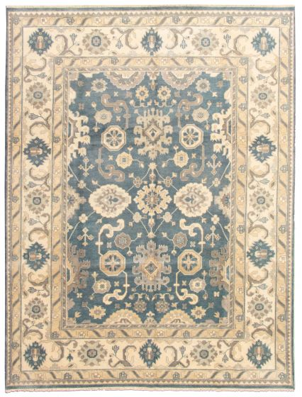 Bordered  Traditional Blue Area rug 9x12 Indian Hand-knotted 331324