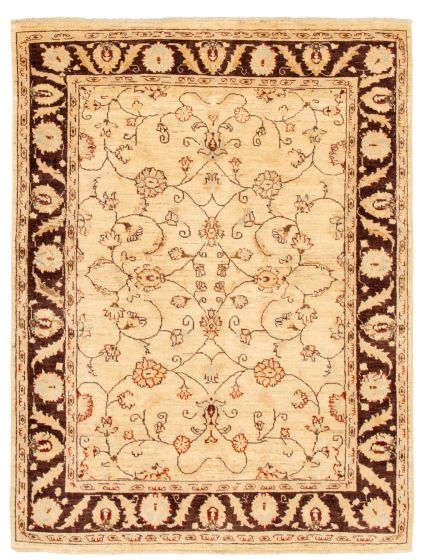 Bordered  Traditional Ivory Area rug 4x6 Afghan Hand-knotted 331621